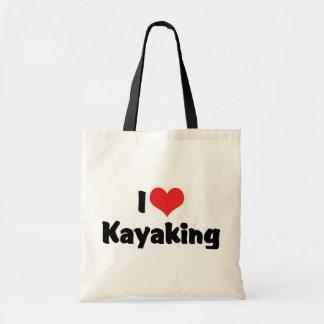 Eu amo o coração que Kayaking - transportar de rio Sacola Tote Budget