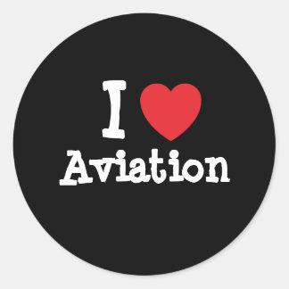 Eu amo o costume do coração da aviação adesivos redondos