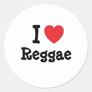 Eu amo o costume do coração da reggae adesivo