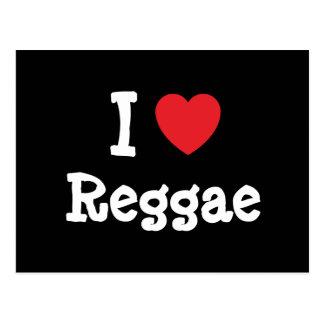 Eu amo o costume do coração da reggae cartão postal