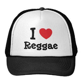 Eu amo o costume do coração da reggae personalizad bonés