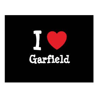 Eu amo o costume do coração de Garfield personaliz Cartoes Postais
