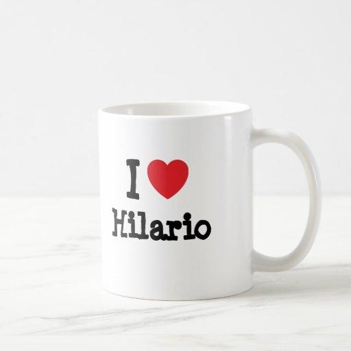 Eu amo o costume do coração de Hilario personaliza Canecas