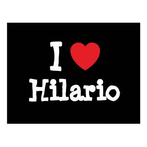 Eu amo o costume do coração de Hilario personaliza Cartão Postal
