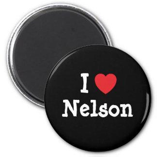 Eu amo o costume do coração de Nelson personalizad Ímã Redondo 5.08cm