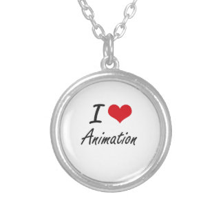 Eu amo o design artístico da animação colar com pendente redondo