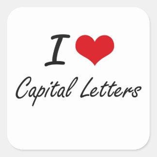 Eu amo o design artístico das letras principais adesivo quadrado