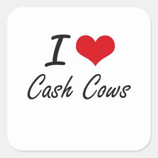 Eu amo o design artístico das vacas de dinheiro adesivo quadrado