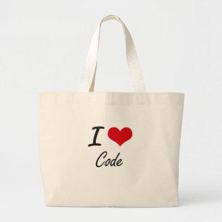 Eu amo o design artístico do código sacola tote jumbo