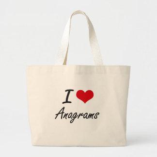 Eu amo o design artístico dos anagramas sacola tote jumbo