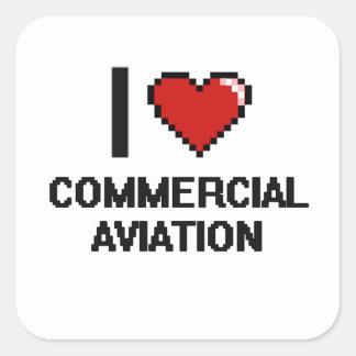 Eu amo o design comercial de Digitas da aviação Adesivo Quadrado
