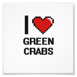 Eu amo o design de Digitas dos caranguejos verdes Impressão De Foto