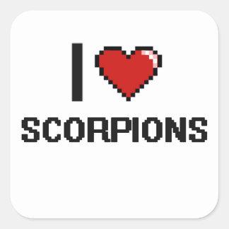 Eu amo o design de Digitas dos escorpião Adesivo Quadrado