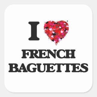 Eu amo o design francês da comida dos Baguettes Adesivo Quadrado