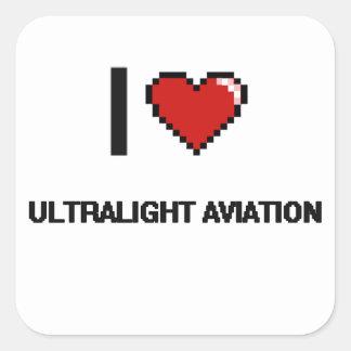 Eu amo o design retro de Digitas da aviação Adesivo Quadrado