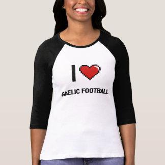 Eu amo o design retro de Digitas do futebol T-shirt