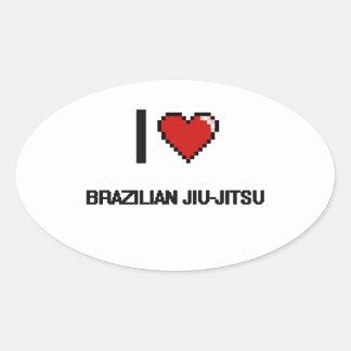Eu amo o design retro de Jiu-Jitsu Digital do Adesivo Oval