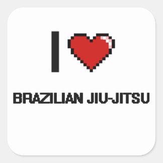 Eu amo o design retro de Jiu-Jitsu Digital do Adesivo Quadrado