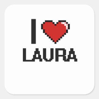 Eu amo o design retro de Laura Digital Adesivo Quadrado