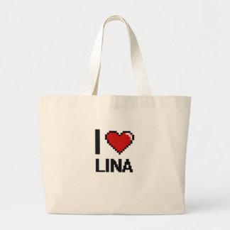Eu amo o design retro de Lina Digital Sacola Tote Jumbo
