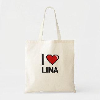 Eu amo o design retro de Lina Digital Sacola Tote Budget