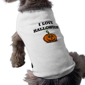 EU AMO o Dia das Bruxas Camisa Sem Mangas Para Cachorro