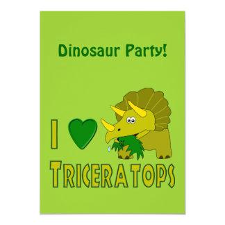 Eu amo (o dinossauro bonito do Triceratops do Convite Personalizados