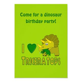 Eu amo (o dinossauro bonito do Triceratops do Convite Personalizado