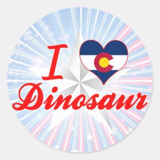 Eu amo o dinossauro, Colorado Adesivos Redondos