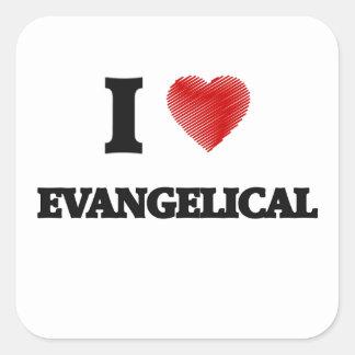 Eu amo o EVANGELICAL Adesivo Quadrado