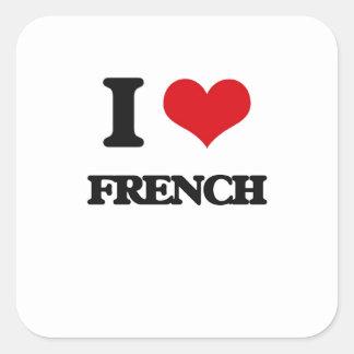 Eu amo o francês adesivo em forma quadrada