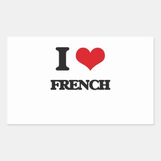 Eu amo o francês adesivos em forma retangular