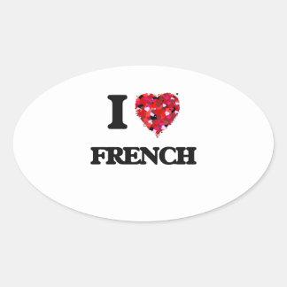 Eu amo o francês adesivo oval