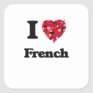 Eu amo o francês adesivo quadrado