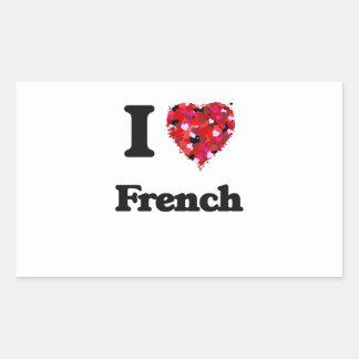 Eu amo o francês adesivo retangular