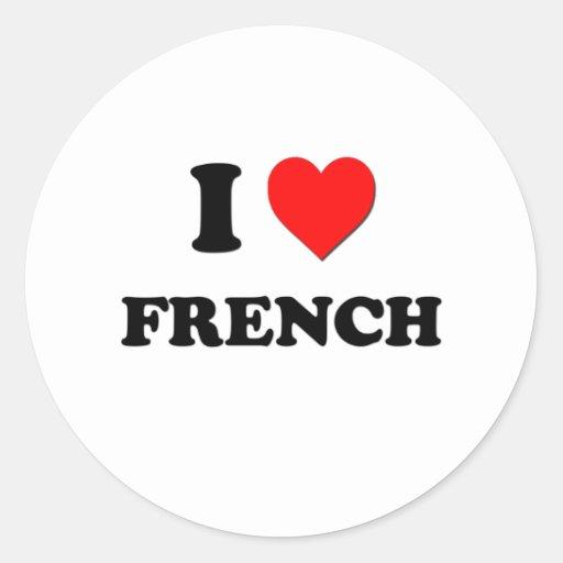 Eu amo o francês adesivo redondo
