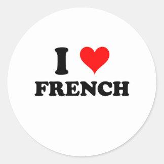 Eu amo o francês adesivos redondos