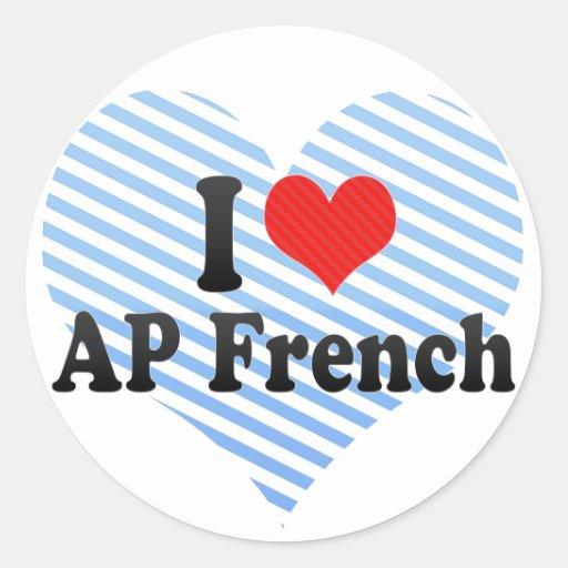 Eu amo o francês do AP Adesivo Redondo