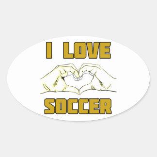 Eu amo o futebol adesivo oval