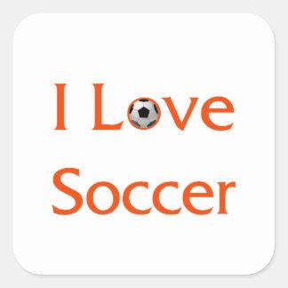 Eu amo o futebol adesivo quadrado