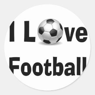 Eu amo o futebol adesivo redondo