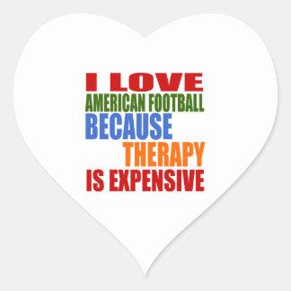 Eu amo o futebol americano porque a terapia é adesivo coração