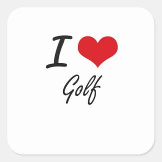 Eu amo o golfe adesivo quadrado