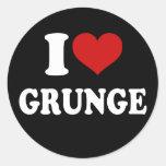 Eu amo o Grunge Adesivo Em Formato Redondo