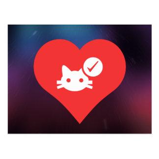 Eu amo o ícone das vacinas do gato cartão postal