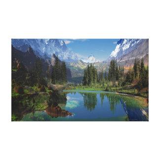Eu amo o impressão esticado das canvas da montanha