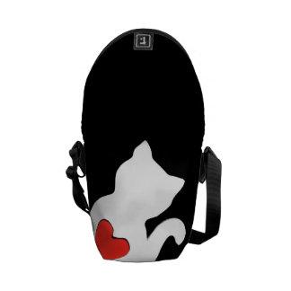 Eu amo o impressão exterior da mini bolsa bolsa mensageiro