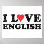 Eu amo o inglês posteres