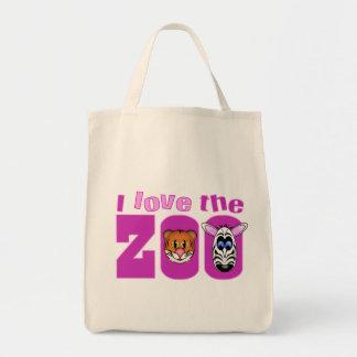 Eu amo o jardim zoológico sacola tote de mercado