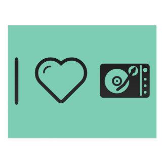 Eu amo o jogador gravado do estojo compacto cartão postal